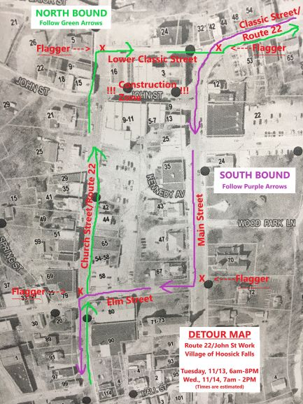 Detour Map for John Street Work